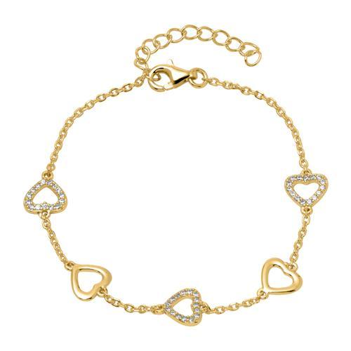Armband Herzen aus vergoldetem 925er Silber Zirkonia