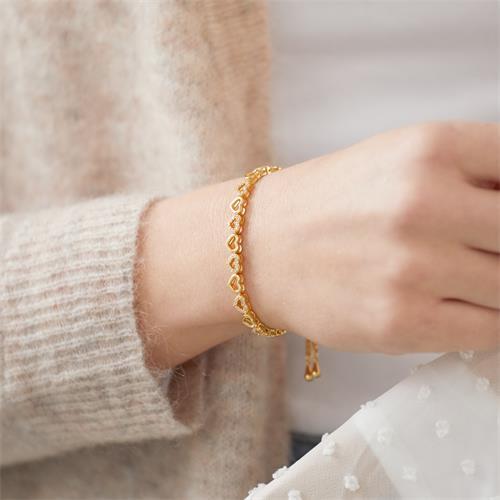 Herzarmband aus vergoldetem 925er Silber mit Zirkonia