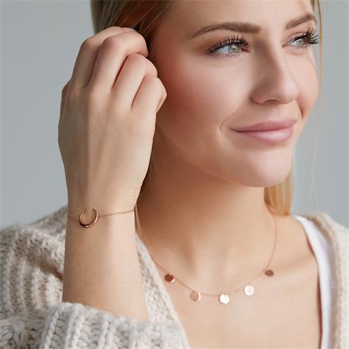 Armband Halbmond aus rosévergoldetem 925er Silber
