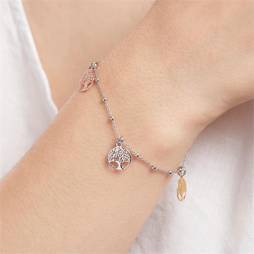 Lebensbaum Armband für Damen aus 925er Silber, tricolor