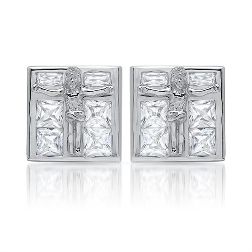 Moderne Ohrstecker 925 Sterling Silber Zirkonia