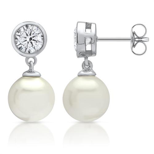 Moderne Ohrstecker, 925 Silber Perle & Zirkonia