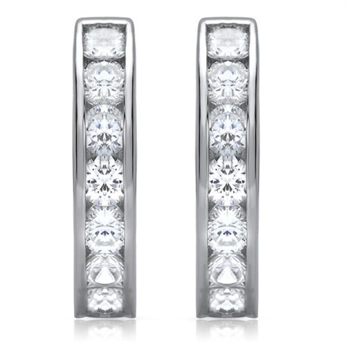 Moderne Silbercreolen mit Zirkonia