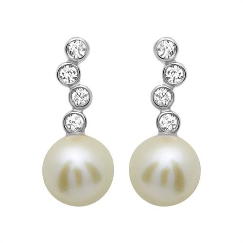 ohrstecker 925 silber zirkonia perle wei se0563. Black Bedroom Furniture Sets. Home Design Ideas
