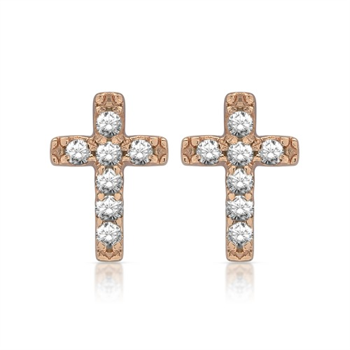 Rosévergoldete Ohrstecker 925er Silber Kreuz