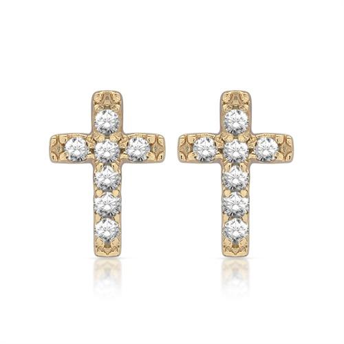 Ohrstecker 925er Silber Kreuz gelbvergoldet
