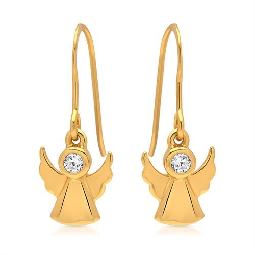 Silber vergoldet Ohrhänger Engel mit Steinbesatz