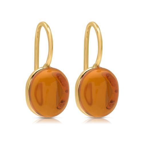 Gelbvergoldete Ohrhänger aus Silber mit Citrin ...