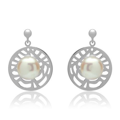 Ohrringe - Ohrschmuck mit Perlenbesatz rhodiniertes Silber  - Onlineshop The Jeweller