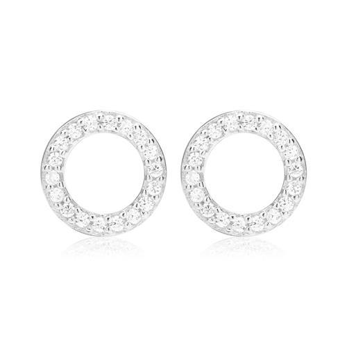 925er Silber Ohrstecker Kreis mit weißen Zirkonia