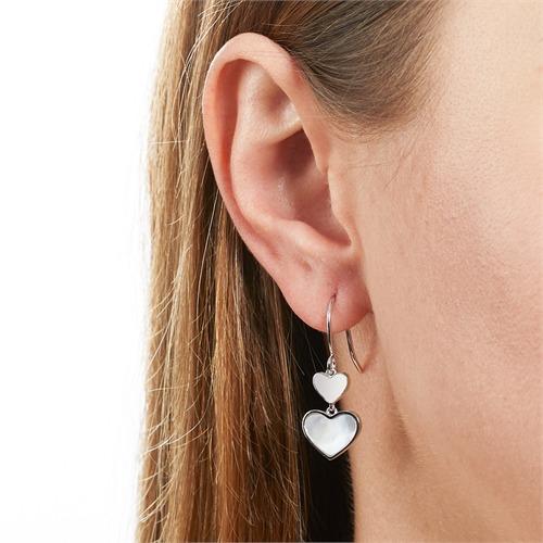 Ohrhänger Herzen aus 925er Silber und Perlmutt