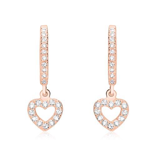 Ohrringe - Rosévergoldete 925er Silber Creolen mit Zirkonia  - Onlineshop The Jeweller