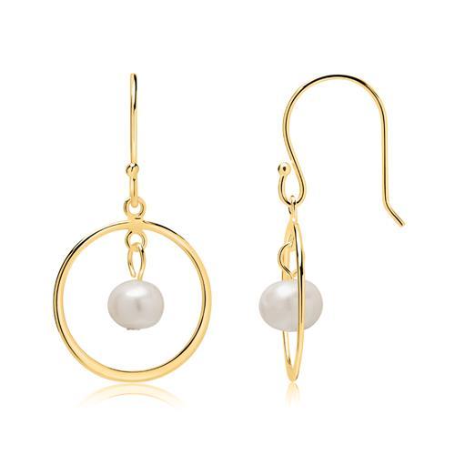 Vergoldete 925er Silber Ohrhänger mit Perlen
