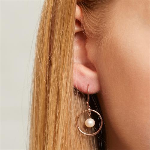 Ohrhänger aus rosévergoldetem 925er Silber mit Perlen