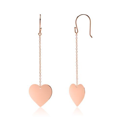 Herz Ohrhänger aus rosévergoldetem Sterlingsilber