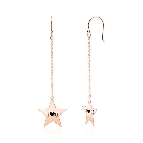 Rosévergoldete 925er Silber Ohrhänger Sterne