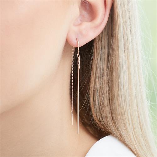 Stäbchen Ohrhänger aus rosévergoldetem 925er Silber
