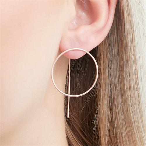Rosévergoldete 925er Silber Kreis Ohrhänger