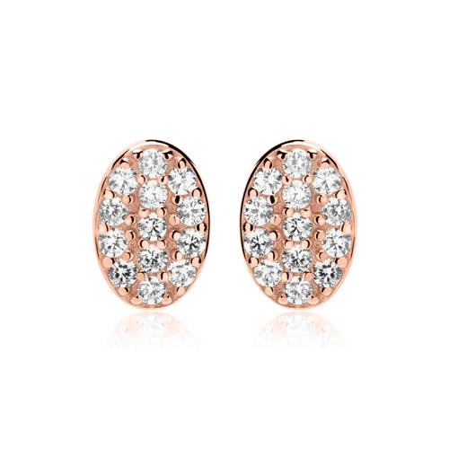 Ohrringe - Ovale Ohrstecker 925er Silber rosévergoldet Zirkonia  - Onlineshop The Jeweller
