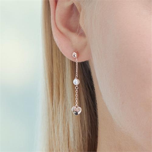 Rosévergoldete 925er Silber Ohrstecker Herzen Perlen