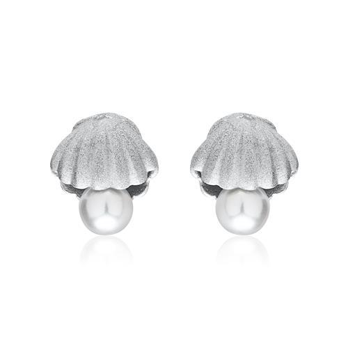 925er Silber Ohrstecker Muscheln mit Perlen