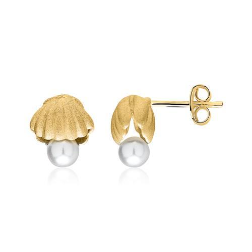 Ohrstecker Muscheln mit Perlen 925er Silber vergoldet