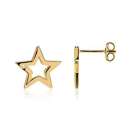 Ohrstecker Sterne aus vergoldetem 925er Silber Zirkonia
