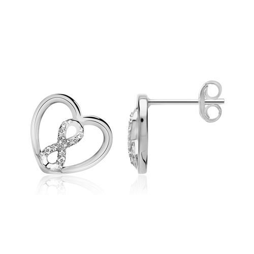 Herz Ohrstecker Infinity aus 925er Silber mit Zirkonia