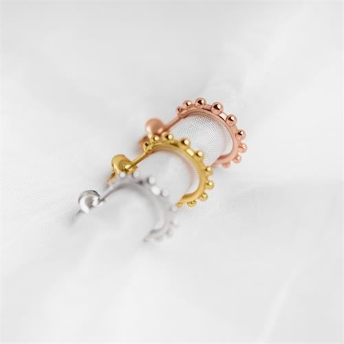Rosévergoldete 925er Silber-Creolen Dots für Damen