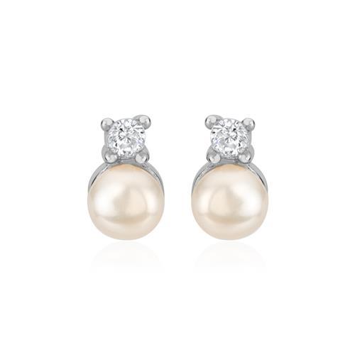 925er Silber Ohrstecker für Damen mit Perlen Zirkonia
