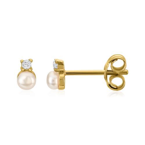 Ohrstecker aus vergoldetem 925er Silber Perlen Zirkonia