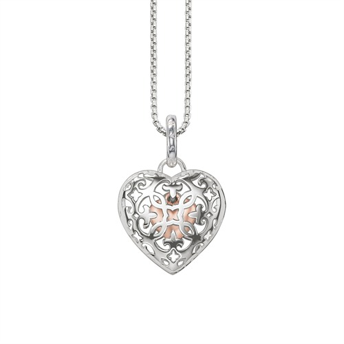 Kette Herz Medaillon aus 925er Silber