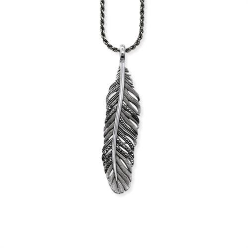 925er Silberkette Feder Zirkonia schwarz