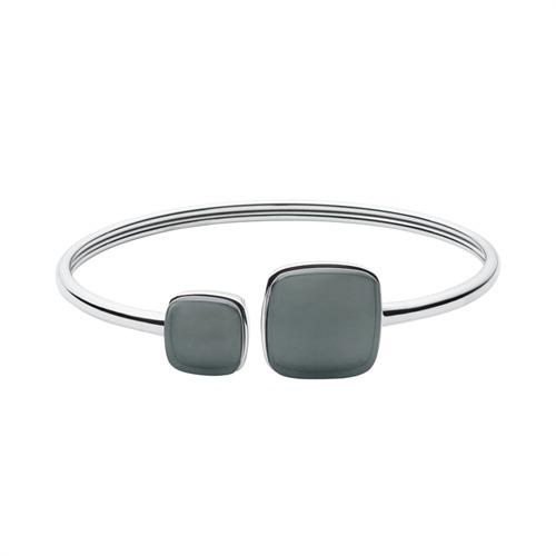 Stilvoller Armreif silber Stein grau