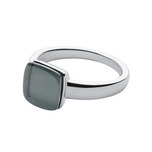 Stilvoller Ring silber Stein schwarz