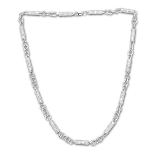 Modernes Silbercollier mit Zirkonia Steinen