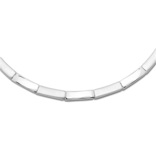 Teilpoliertes 925 Silbercollier modernes Design