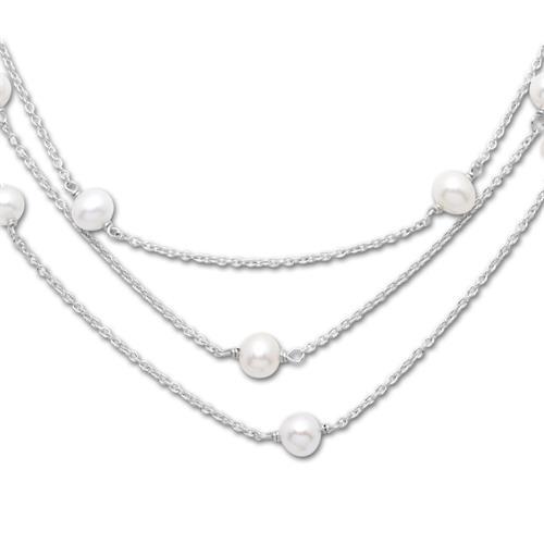 Exklusive Silberperlenkette mit Süßwasserperlen