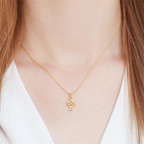 925 Silberkette vergoldet mit Kreuzanhänger
