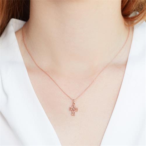 925 Silberkette rose vergoldet Kreuzanhänger