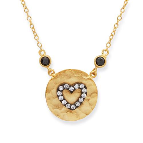 Vergoldete 925 Silberkette mit Herzanhänger