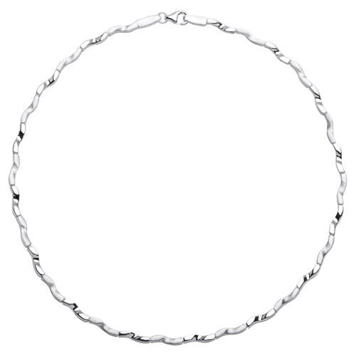 Modernes glänzendes Silbercollier geschwungen S...