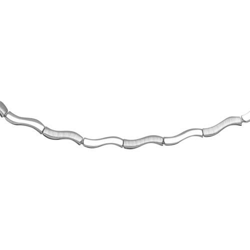 Modernes Silbercollier geschwungen matt glänzend