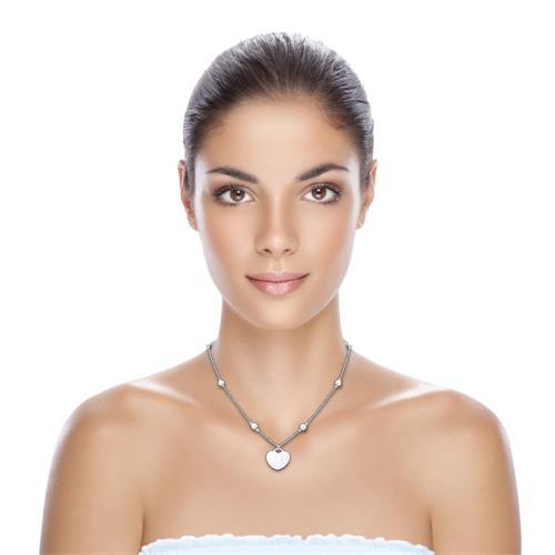 925er Silberkette Perlmutt Herzanhänger