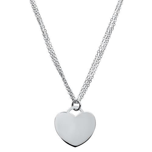 Dreireihige Sterlingsilberkette Herzanhänger