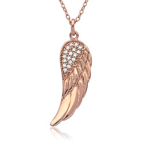 Silberkette rosévergoldet mit Engelsflügel