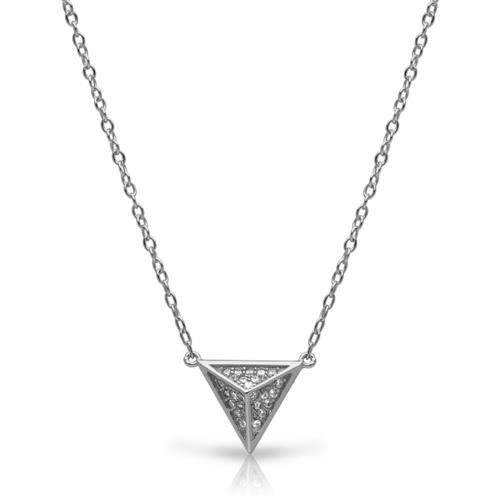 Kette pyramidenförmiger Anhänger Silber Zirkonia