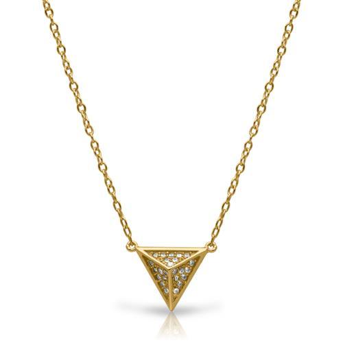 Kette Pyramiden-Anhänger vergoldet Zirkonia