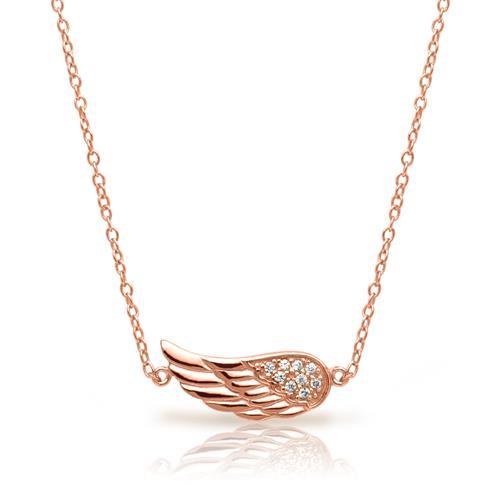 Kette Flügel-Anhänger rosévergoldet Zirkonia