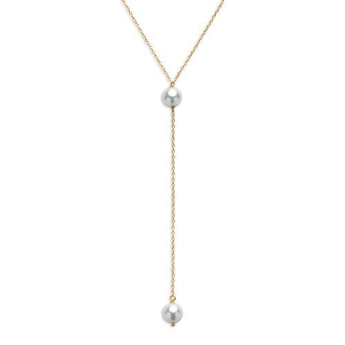 Moderne Y-Kette Perlen 925er Silber vergoldet